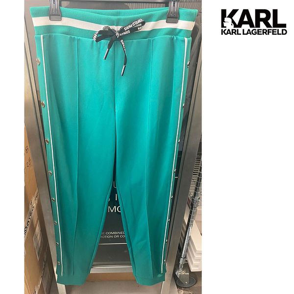 【KARL LAGERFELD】 KARL排釦造型運動長褲-綠 (原廠公司貨)