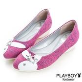 PLAYBOY 流星願望 混色編織尖頭娃娃鞋-桃