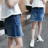 女童牛仔裙夏裝新品6女童牛仔裙10包臀11正韓13中大童12歲女孩15半身短裙子(1件免運)