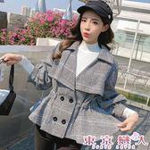 外套 韓版長袖收腰燈籠袖短款毛呢格子外套★東京戀人MS.Q★7920