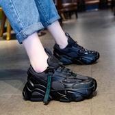 厚底鞋黑色老爹鞋女潮新款秋鞋韓版百搭網紅超火厚底休閒運動鞋新年禮物