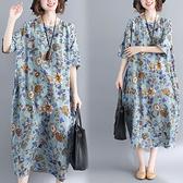 文藝洋裝 特大碼女裝2020夏裝新款文藝寬鬆印花棉麻短袖洋裝加肥加大長裙 店慶降價
