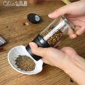 日本進口黑胡椒手動研磨器芝麻花椒粉香料碎玻璃瓶調料罐「Chic七色堇」
