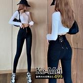 克妹Ke-Mei【ZT63412】歐美街拍美臀釘釦綁帶高腰彈力緊身牛仔褲