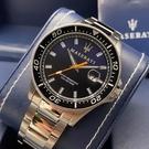 星晴錶業-MASERATI瑪莎拉蒂男錶,編號R8853140001,44mm黑, 銀錶殼,銀色錶帶款