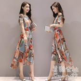 中大尺碼 夏季新款女裝修身氣質不規則印花碎花短袖雪紡連衣裙LK3255『美鞋公社』