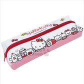 〔小禮堂〕Hello Kitty 帆布皮質上開拉鍊筆袋《紅白.大臉》化妝包.收納包.鉛筆盒 4713791-96981