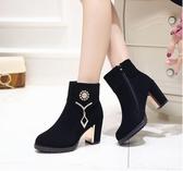 靴子馬丁靴女英倫風冬季高跟短靴百搭黑色粗跟媽媽棉鞋女
