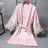 性感睡衣女夏季浴袍蕾絲單件冰絲睡袍