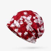 聖誕節 春夏透氣兩層女性套頭帽子全棉化療光頭包頭帽蝴蝶蕾絲薄款頭巾帽 熊貓本