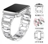 Apple Watch 4 蘋果錶帶 鑲鉆D字扣金屬帶 不銹鋼鏈式錶帶 手腕帶 Apple Watch 3 2 1