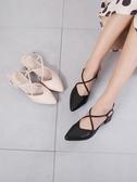 尖頭涼鞋女中跟包頭高跟網紅粗跟百搭單鞋 格蘭小舖