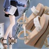 夏季新款百搭厚底松糕羅馬涼鞋仙女風網紅ins潮坡厚底楔形鞋女 卡布奇诺