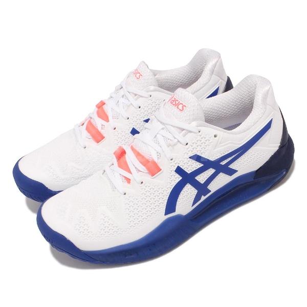 Asics 網球鞋 Gel-Resolution 8 D Wide 寬楦 白 藍 女鞋 穩定型 亞瑟士【ACS】 1042A097107