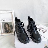 日系短靴馬丁靴女復古加絨百搭短筒【創世紀生活館】