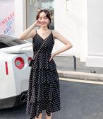 特賣款不退換洋裝連身裙M-4XL中大尺碼32404雪紡波點連衣裙蛋糕裙收腰顯瘦氣質高腰無袖吊帶長裙