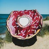 防曬披肩-圓形復古甜甜圈圖案多用途戶外沙灘巾73mu17[時尚巴黎]