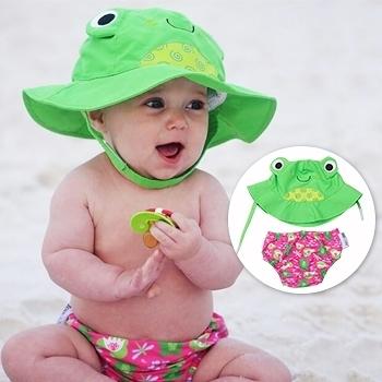 ZOOCCHiNi可愛動物尿布泳褲+遮陽帽/防曬帽-青蛙-適合1-2歲幼兒 (10-13kg)