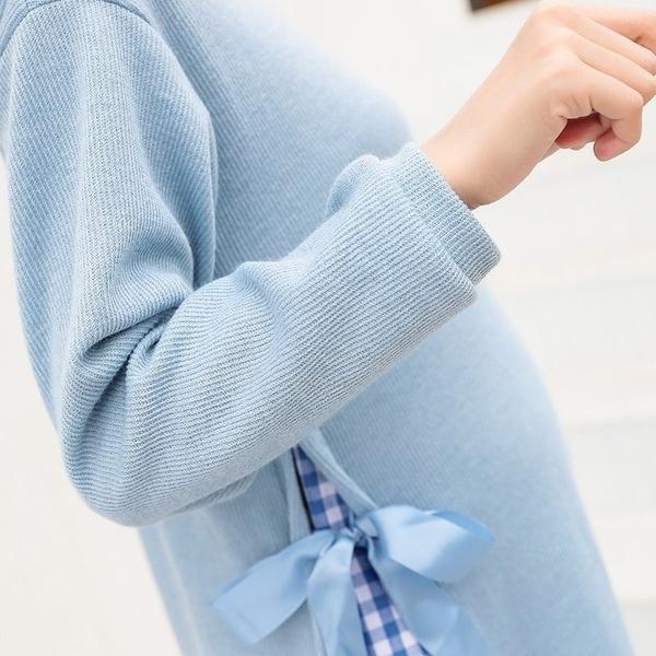 漂亮小媽咪 假兩件 格紋 洋裝 【D5819】 假二件 孕婦裝 長袖 長洋裝 格子紋 長裙 魚尾裙
