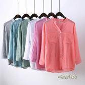 春夏裝日系小清新大碼棉麻防曬衣服女薄款九分袖立領襯衫亞麻上衣「時尚彩虹屋」