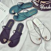 新款涼拖鞋女夏韓版平底水鑚夾腳時尚外穿涼鞋女士平跟沙灘鞋 依夏嚴選