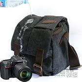 攝影包復古相機包單肩文藝帆布瘋馬皮微單內膽包防水單反收納 衣櫥秘密