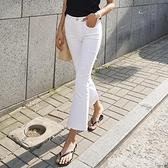 高腰彈力白色喇叭褲女新款顯瘦九分牛仔褲黑色春秋微喇褲 居家物语