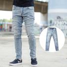牛仔褲 淺藍微淺刷色素面彈性合身牛仔褲【...
