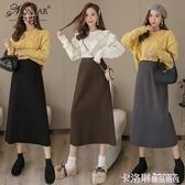 長裙 寧莎2020冬季chic風直筒高腰一步長裙加厚韓版針織半身裙女中長款 極速出貨
