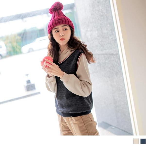 《AB14395-》假兩件含棉針織內刷毛拼接連帽長袖上衣 OB嚴選