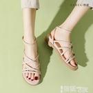 平底涼鞋 坡跟涼鞋女仙女風2021年新款小眾羅馬鞋百搭平底綁帶厚底夏季女鞋 智慧 618狂歡