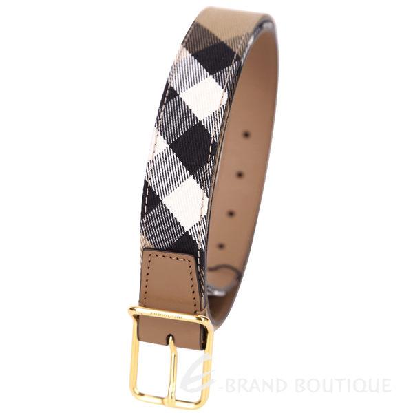 BURBERRY HOUSE 格紋拼接設計腰帶(駝色) 1510411-02
