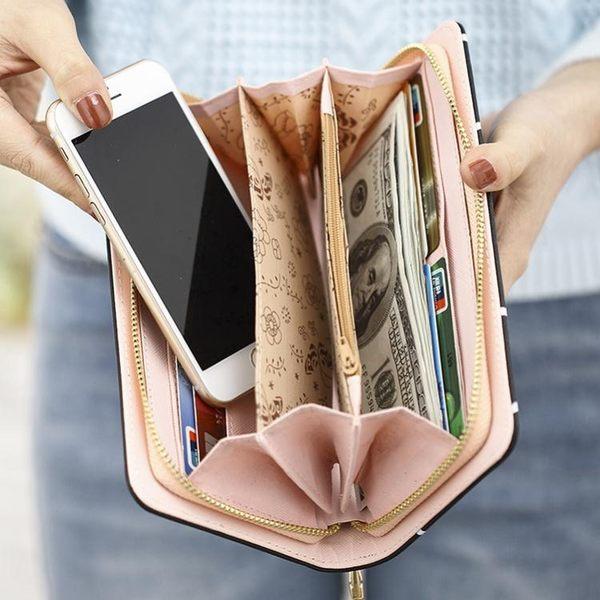 長錢夾大容量女士長款零錢包韓版簡約復古拉鏈錢夾多功能手機手拿包 雲朵走走