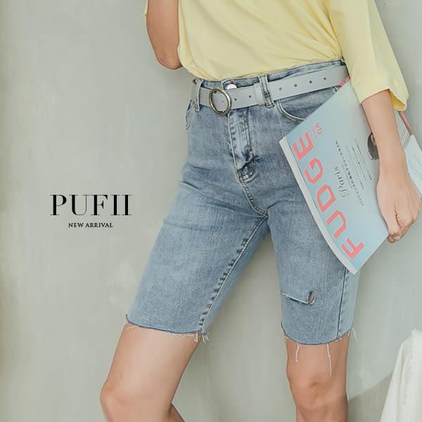 現貨★PUFII-牛仔褲 彈力割破五分牛仔褲-0411 春【CP16170】