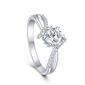 莫桑鑽戒指-925純銀-1ct情結六爪鑲嵌女開口戒74an8{附GRA證書}【時尚巴黎】