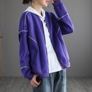 太空棉棒球服外套 拉鏈休閒短外套 寬鬆長袖外套/4色-夢想家-0118