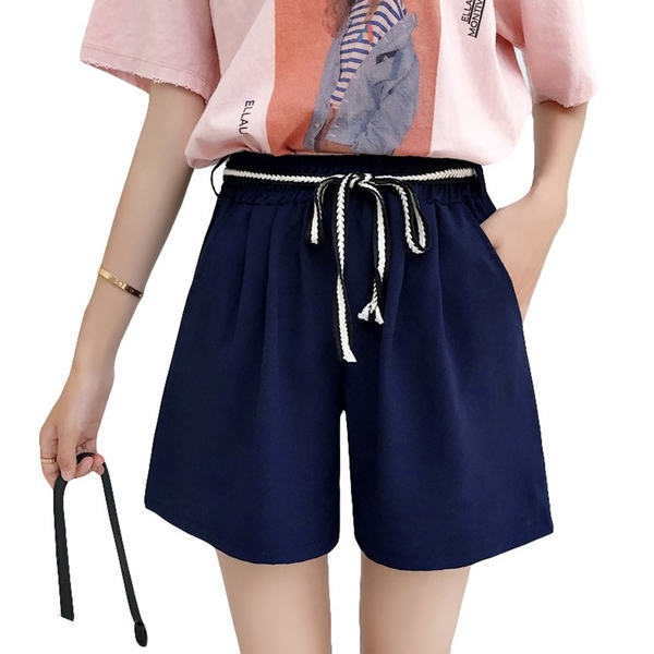 短褲--夏日休閒鬆緊褲頭斜插口袋附撞色綁繩素面寬鬆褲裙(黑.藍.綠L-6L)-R238眼圈熊中大尺碼◎