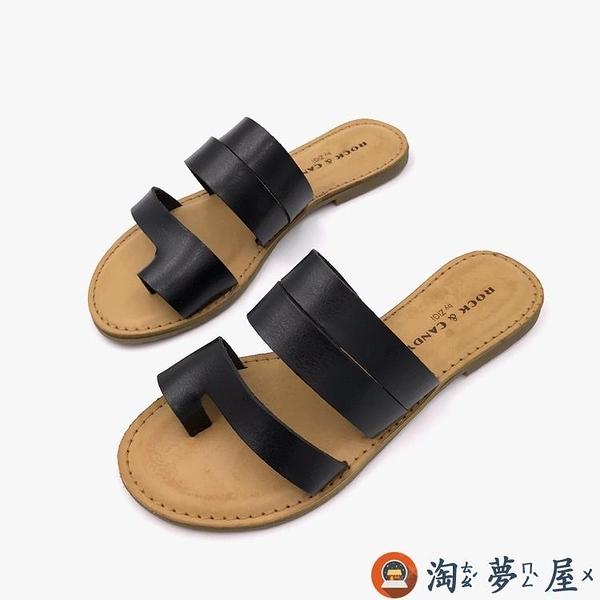 超軟大碼套趾涼拖夏復古涼鞋平跟簡約旅游拖鞋女外穿【淘夢屋】