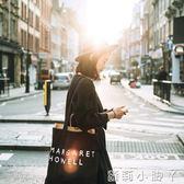 帆布袋字母布袋子手提包購物袋環保袋帆布單肩包女簡約拉錬 蘿莉小腳ㄚ