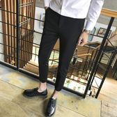 【免運】夏季休閒褲男韓版修身西裝褲顯瘦小腳褲子男士九分褲垂感西褲
