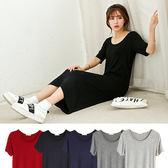 短袖洋裝 素色莫代爾圓領短袖洋裝連身裙【MZ1709】 icoca  03/16
