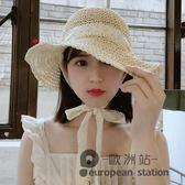 草帽/女夏小清新蕾絲綁帶蝴蝶結帽子夏季大檐沙灘帽「歐洲站」
