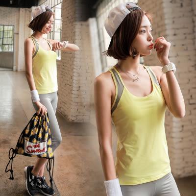 春夏新款瑜伽服套裝套女短袖背心休閒運動跑步健身喻咖服   -cmx0064