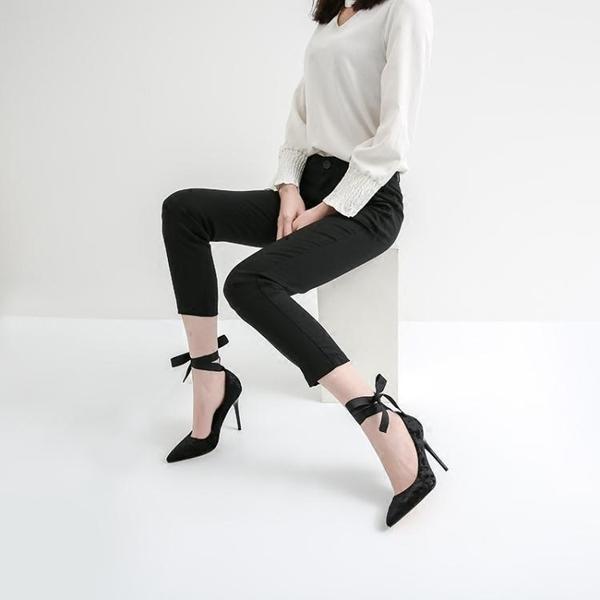 流行高跟鞋 春季新款高跟鞋法式少女細跟尖頭性感淺口百搭黑色單鞋夏 米蘭潮鞋館
