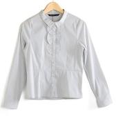 【MASTINA】細條紋荷葉邊襯衫-白  秋裝限定嚴選