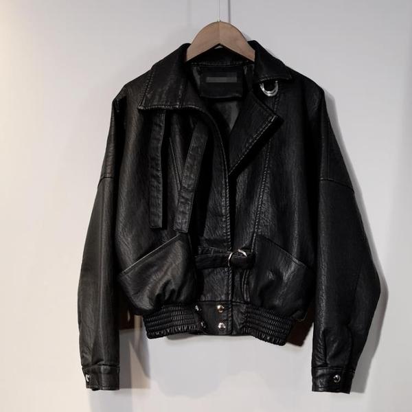 皮衣 短款皮衣外套韓版寬鬆bf風機車PU顯瘦皮夾克外套