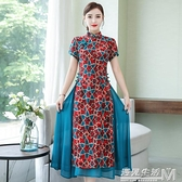 中國風少女越南優雅長款旗袍改良版洋裝度假