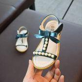 2018夏季新款露趾女童涼鞋公主鞋蝴蝶結中大童珍珠兒童防滑軟底