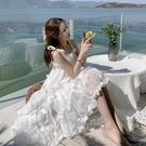 蛋糕裙 港風不規則設計感小眾網紗純欲褶皺初戀蛋糕白色吊帶連身裙仙女夏 寶貝寶貝計畫 上新