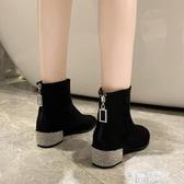 春秋冬季襪短靴高跟女鞋馬丁彈力小跟瘦瘦粗跟百搭2020年新款單靴 萬聖節